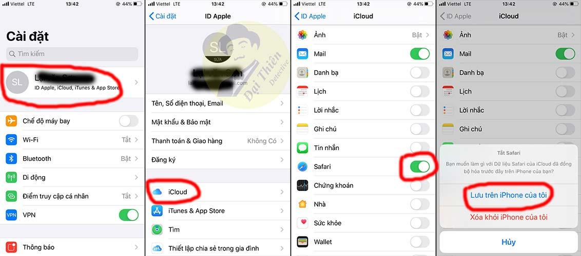 2 iphone dùng chung icloud có xem được safari không